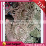 2016 fashion 15cm width golden lace trimming glitter chiffon flower triming for garment accessories                                                                         Quality Choice