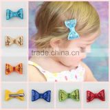2015 New baby sequin hair bow with clip children hair accessories boutique big glitter hair bow ! CB-3667
