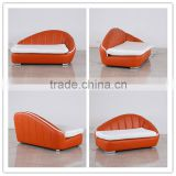 Modern Design Round style Furniture Living Room Leather Sofa In Orange Top Leather Material
