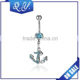 Stainless steel body piercing jewelry blue and white crystal navel belly button ring anchor shape navel jewelry china wholesale
