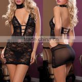 Lingerie Women's Sleepwear Underwear Babydoll Black Dress Costume +G-String