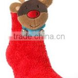 plush baby socks /baby plush Christmas plush red socks with toy /plush floor socks