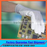 PU resin Assembly line esd glove Cell phone repair esd glove Light part handling esd pu palm coated work glove for sale