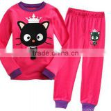 hot sale plain weave cloth kid pajamas, baby long sleeve pajamas 085
