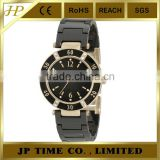 shiny black ceramic 10 ATM water resistant analog quartz sapphire crystal ceramic watch