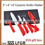 Red Handle 3''4''6'' Ceramic Knife Set EVA Gift Box(CIDX-TJC022)