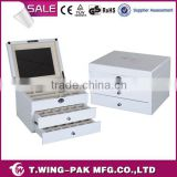 White Cufflink Box with Custom Logo Portable Jewelry Display Cases White Wood Jewelry Box