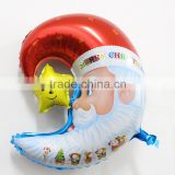 2015 new arrival hot sale santa claus christmas foil moon shape balloons for Christmas party supplies