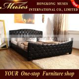 Muses 2014 new modern bedroom furniture ,Chesterfield King Size genuine leather bed A059#