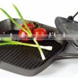 cast iron square grill pan with square meat press, two assorted cast iron series, cast iron grilldle pan, cast iron meat press
