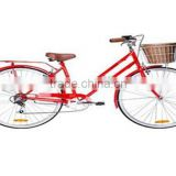 China 2015 hot new cheap urban bike high quality 26'' retro city bike with dynamo light