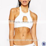 open sexy girl full photo halter neck bikini cut out front white crop micro bikini                                                                         Quality Choice