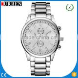 CURREN/CW019 CURREN 3 Dials Decoration Stainless Steel Business Watches Casual Watch Quartz Watches relogio masculino