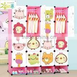 For kids bedroom with cartoon picture plastic foldable wardrobe