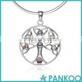 925 Sterling Silver High Quality colorful Cubic Zirconia Celtic Knot Trinty Tree of Life Pendant Necklace