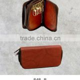 Leather key case with card pockets zipper style key case