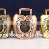 1.2''mini metal cow bell A4-C07 with logo printed and keyring leather strap as souvenirs (E256 )