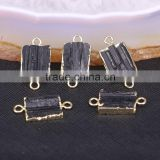 Gold Plated Natural black Tourmaline Druzy Stone Connector Beads For Jewelry Making