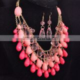 New Fashion Drop Pendant Necklace Set, african beads jewelry set