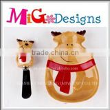 Adorable Ceramic kitchen supplies household Reindeer Plate Set Promotional Christmas Gifts