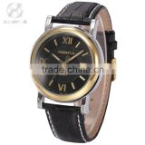 AGENTX Black Dial Genuine Leather Strap Analog Date Display Stainless Steel Golden Case Mens Quartz Watch