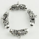 Long Curbe Tube Silver Spacer Tube Beads With Fish Pattern