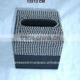 Horn and steel ball mosaic tissue box with polish