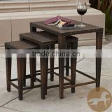 Knight Home Outdoor Brown Wicker Nested Tables (Set of 3)