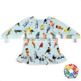 Birds Prints Fashionable Shirts For Girls Little Girl Long Sleeve Fall Shirt Wholesale Boutique Children's Wear Cotton Clothes