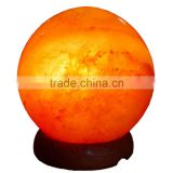 Himalayan Pink Salt Lamp globe shape with 6ft cord, 15 watt bulb 110 or 220 volts with dimmer full set 3kg or 6 pounds