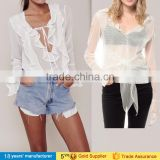 2017 sexy summer beach cover up long sleeve sheer mesh tops white see through blouse for women