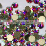 Crystal AB bling non hot fix rhinestone nail art decoration rhinestone round flat backs non hotfix AB nail art