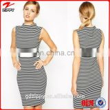 2014 Wholesale New Fashion Summer Casual Striped Bodycon Dress with High Neck