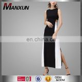 Latest Elegant Design Black &White Sleeveless Long Cutout Prom Dress Fashion Girls Long Maxi Cutout Dress