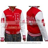 Ladies Varsity Jackets, Red & White Baseball Jackets, Ladies Bomber Jackets, chenille Embroidery Wool Leather Jackets