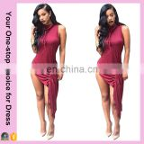 New design custom made ruched with side split women's sexy round collar club dress