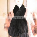 2014 Fashion Knitted Real Mink Fur Scarf