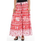 BEach Wear Comfortable REd Color Sanganeri Printed Cotton Palazzo pant for Women from India