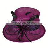 Purple Sinamay Top Hat with Feather Decoration