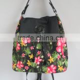 fashion designer flower pattern laptop backpack ladies, designer handbag girls, short distance travel backpack