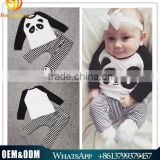 2016 hot sale new spring long sleeve 2pc/set boy cartoon pandas long sleeve t-shirt + stripe long pants baby clothes outfits