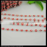 LFD-0019C ~ Wholesale Silver Tone Rosary Style Chain Jewelry Finding 6MM Red - Evil Beaded Wire Wrapped Beaded Chain Jewelry