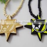 Good Quality Hip-Hop 7 Moon & Star Alla Pendants Wood Rosary Bead Necklaces