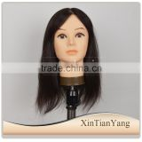 Alibaba express wholesale price high quality human hair training head, lesson wig for hairdresser, manequin doll heads