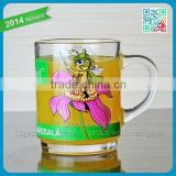 Branded Decorative Juice Cup Glasses Promotional Lovely Juice Cup Glass Mug with Handle Kids Favor Cartoon Logo Beverage Glass