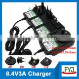 li polymer battery charger 8.4v 3a charger for li polymer battery 7.4v charger with US UK AU EU plug YJP-084300