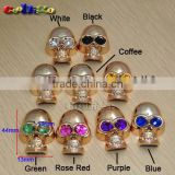 Plastic Charm Golden Plated Skull Colorful Eyes For Sewing Bags Shoes Fashion Garment Accessories #FLC123(Mix-s)
