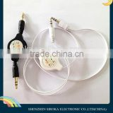 3.5mm aux audio cable usb data transfer M to M Retractable Audio Data Cable for iPod iPhone MP3 Players