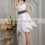 New Elegant White Sweetheart A-line Short Mini Beaded Satin Evening Dress Prom Gowns xyy04-062