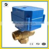 1/2'' 3/4'' 3-way electric brass ball valve motorized valve for automatic water control with manual override fan coil